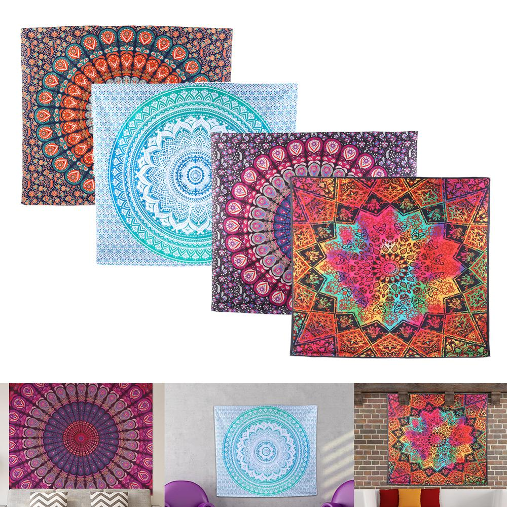 Large Mandala Indian Tapestry Wall Hanging Bohemian Beach Towel Polyester Thin Blanket Yoga Shawl Mat Blanket