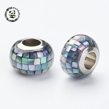 1pc 12x8mm 304 Stainless Steel Rondelle Resin European Beads with Shell and Enamel Large Hole Beads, Hole: 5mm