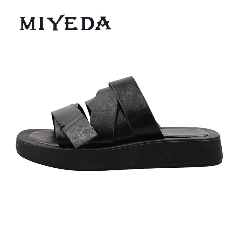 MIYEDA Comfortable Sandals Female Light Buckle Strap Cross-strap Shoes Without Heels Punk Casual Wedges Black Slippers
