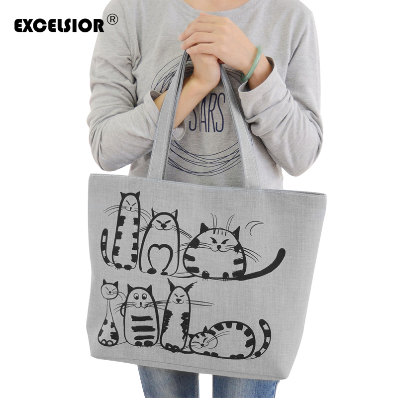EXCELSIOR Quality Women's Bags Handbag For Women 2019 Cat Print Shoulder Bag Bolsa Feminina Thick Canvas Shopping Bag Sac A Main