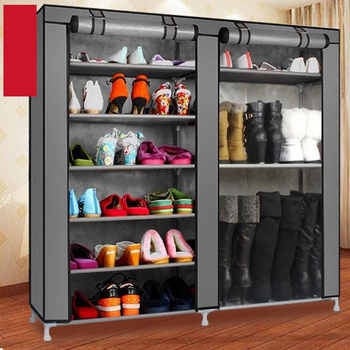 Double Rows 9 Lattices Combination Style Shoe Cabinet Gray Dustproof Shoes Rack Non-Woven Fabric Shoe Stands Organizer - DISCOUNT ITEM  20 OFF Furniture
