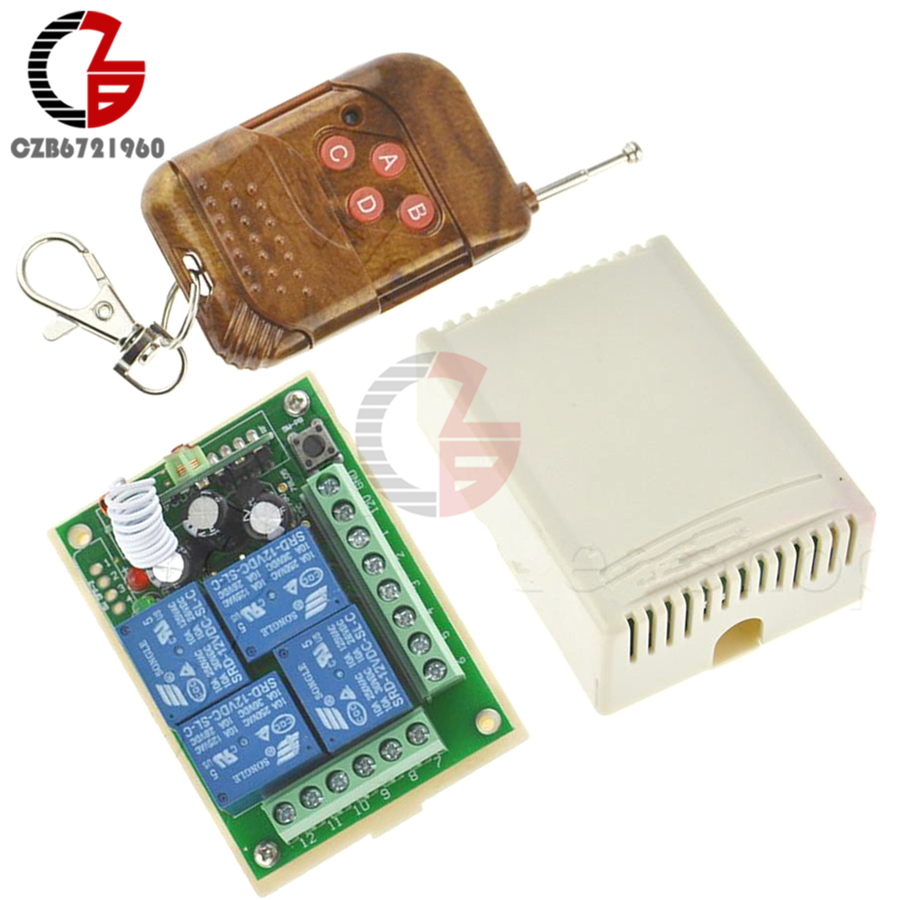 DC12V 10A Relay 4 Channel Wireless RF Remote Control Switch Transmitter Receiver