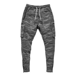 Image 4 - Mens Fitness Training Running Pants Multi zip pocket Cargo Workout Sport Trousers Cotton Men Gym Jogging Tactical Combat Pants