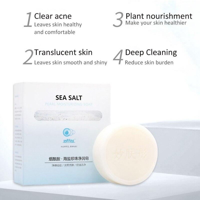 New Niacinamide Sea Salt Pearl Soap Oil-Control Anti-Acnes Anti-Mites Moisturizing Whitening Soap 100g Elegant Temperament Charm