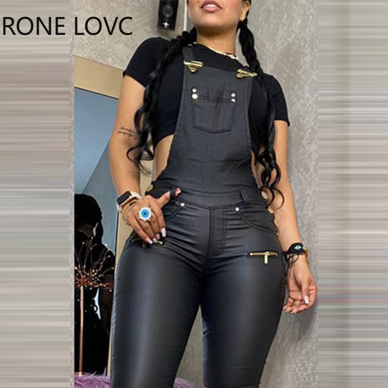 Women Zipper Design  Buckled Pocket Design Solid Buckled Suspender Jumpsuit One Piece Jumpsuit