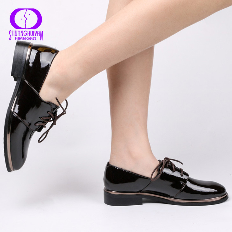 AIMEIGAO Patent Leather Black Oxfords