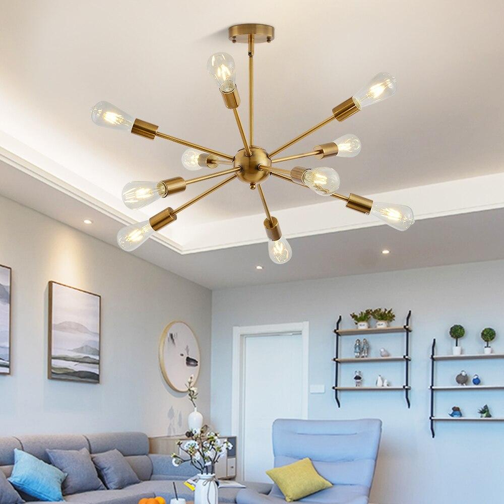 Spoutnik lustres en laiton moderne lampes suspendues or Antique industriel escalier luminaires 10 bras Nickel brossé tube noir