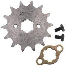 Frente do motor 520 #10t 11t 12t 13t 14t 15t dentes 20mm roda dentada chain com retentor armário da placa para a bicicleta da sujeira da motocicleta atv