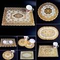 6 шт.  бронзирующий кружевной коврик из ПВХ для обеденного стола  коврик золотого цвета  водонепроницаемая изоляционная подставка  посуда  п...