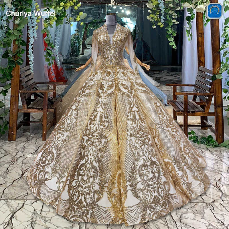 HTL707 luxury evening dress with sleeves ball gown beading sequined pleat ruched sweep train dress evening robe longue soiree