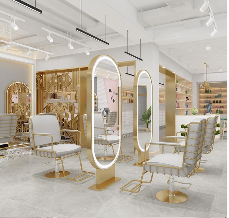 Barber Shop Hair Salon Dedicated Body With Light Net Red Hair Mirror Single Mirror Cut Hair Mirror Floor Factory Direct Sales