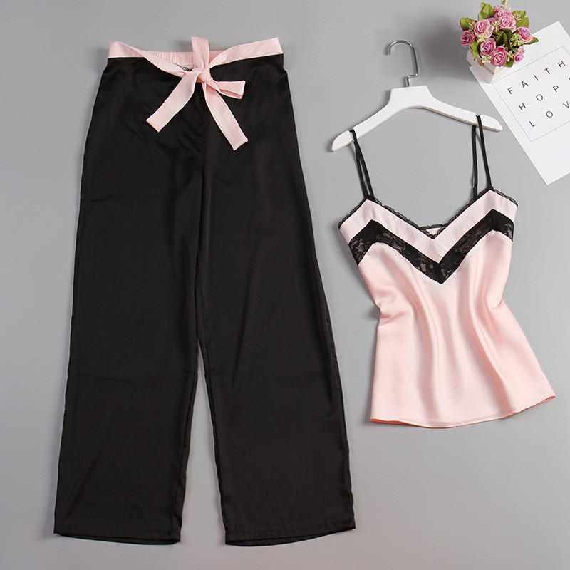 JULY'S SONG 2 Piece Woman Pajamas Set Stain Silk Sexy Sleepwear Woman Pink Top And Long Pants Strap Sling Summer Pajama HomeWear