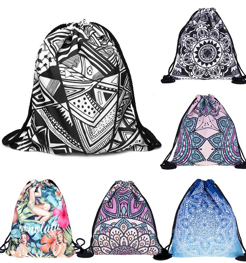 3D Printing Personality Pattern Travel Drawstring Pocket Bag Street Fashion Decoration Backpack Schoolbag Draw String Bag Canvas