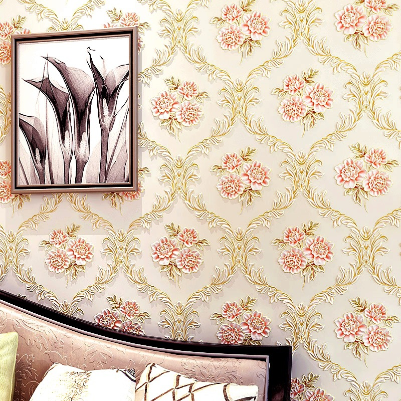3D Warm Pastoral Style European Style Non-woven Wallpaper Stereo Romantic Bedroom Guest Restaurant Bedside TV Backdrop Wallpaper