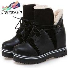 DORATASIA New 34-43 Winter Warm Height Increasing Booties Ladies Platform Ankle Fur Boots Women 2019 High Heels Shoes Woman