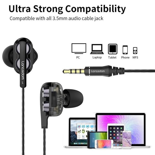 Langsdom D4C Wired Earphone Headphones with Microphone Dual Driver Phone Earphones Type C Ear phones auriculares fone de ouvido 5