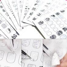 Ensemble de formation au nail art, avec modèle pour pratique de dessin, facile à nettoyer et réutilisable, idéal pour les débutants, 12 pièces/lot,