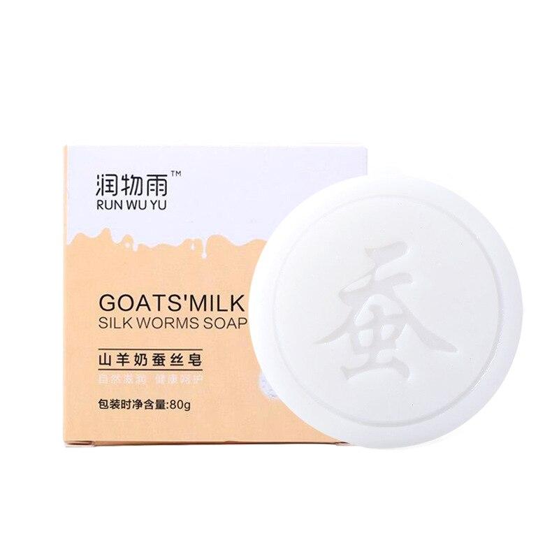 80 г ручной работы козье молоко шелковые мыло, уменьшает поры, анти-лечение акне масло увлажняющий отбеливающий крем для лица против клещей ж...