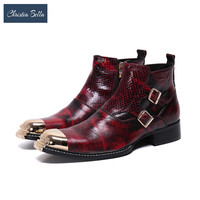 Christia Bella Fashion New Snake Skin Man Buckle Boots Genuine Leather Motorcycle Boots Round Toe Handmade Zipper Short Boots