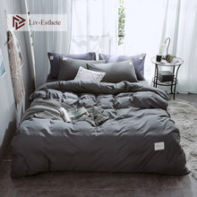 Liv-Esthete Dark Gray Luxury Bedding Set Home Duvet Cover Flat Sheet Double Queen King For Adult Bed Linen Bedspread As Gift(China)