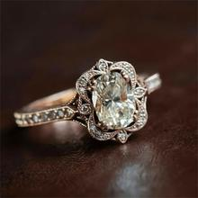 Rose Gold Color Engagement Wedding Ring Oval Cubic Zirconia Ring Retro Unique Art Deco Women Ring