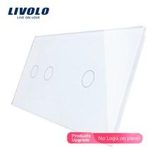 Livolo – panneau Double de luxe en verre cristal, 80x151mm, perle blanche, standard ue, VL-C7-C2/C1-11