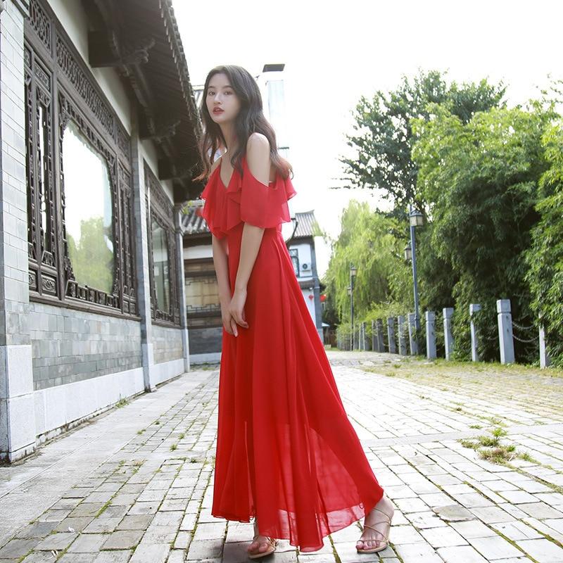 Thailand Dress Women's Summer 2018 New Style Seaside Holiday Beach Skirt Chiffon Camisole Bohemian