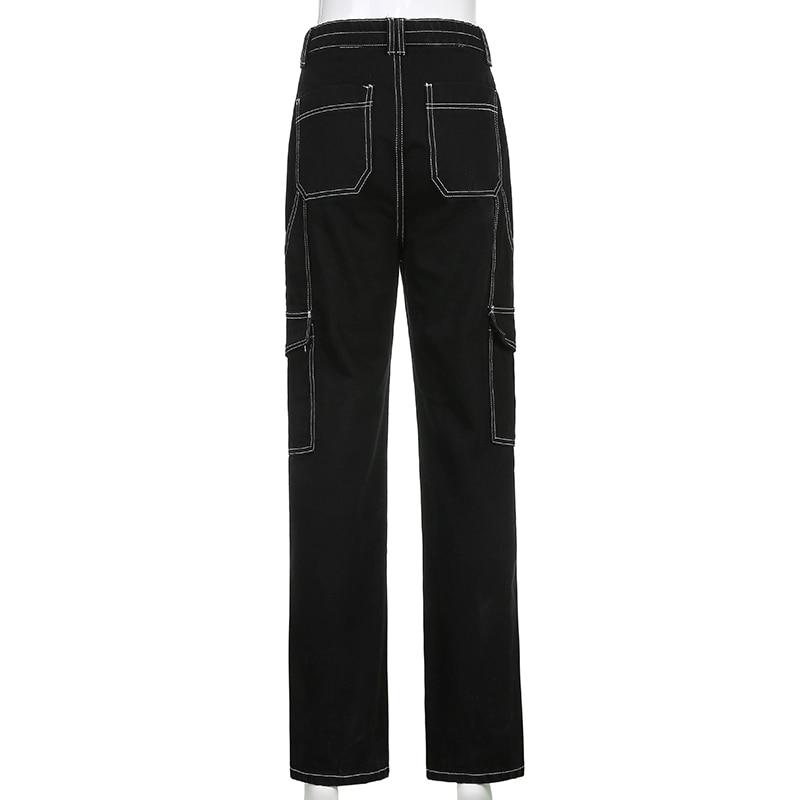 Weekeep Pockets Patchwork Baggy Jeans Fashion Streetwear 100% Cotton Women Denim Trouser Loose Cargo Pants Korean Jeans Harajuku 6