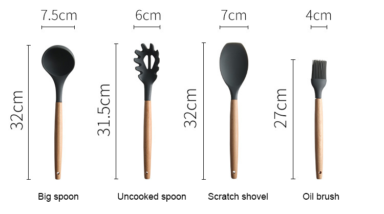 Silicone Kitchen Tools Set Cooking Tools Utensils Set Spatula Shovel Soup Spoon with Wooden Handle Special Heat-resistant Design