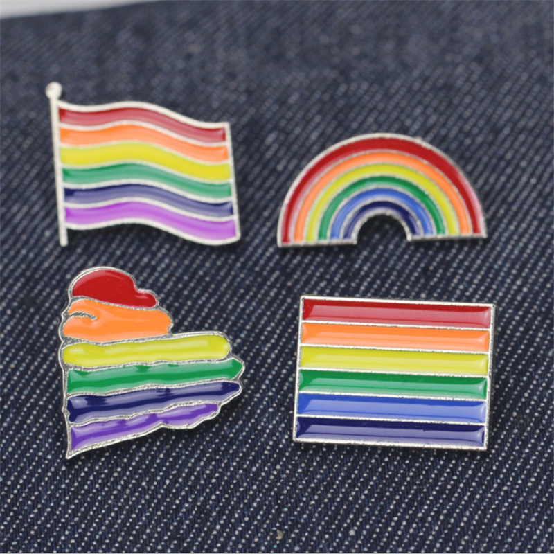 Rainbow Pins  LGBT  Badge Creative Heart Finger Flag Rainbow Metal Badge Gay Lesbian Pride Badge Lapel Pin Sewing Accessories
