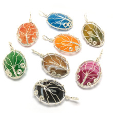 LE SKY Tree of Life Pendant Necklace Natural Stone Wire Wrapped Crystal Beads Pendant Handmade Reiki Charm Jewelry for Women Men цена 2017