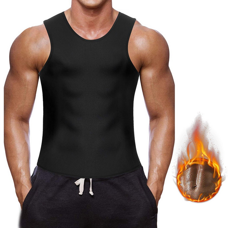 Men Neoprene Waist Trainer Weight Loss Sauna Sweat Vest Compression Body Shaper Workout Shirt Sport Vest Gym Clothing 2020