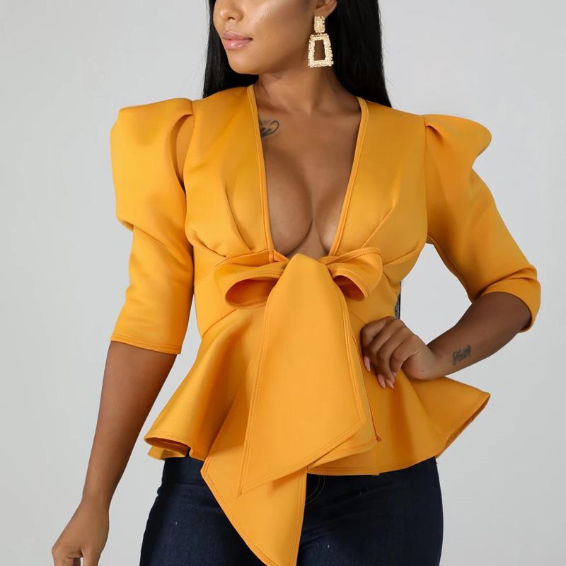 Women Scuba Bowtie Peplum Blouse Shirts Half Sleeve Sexy V Neck Tops Elegant Office Ladies Workwear Streetwear 15