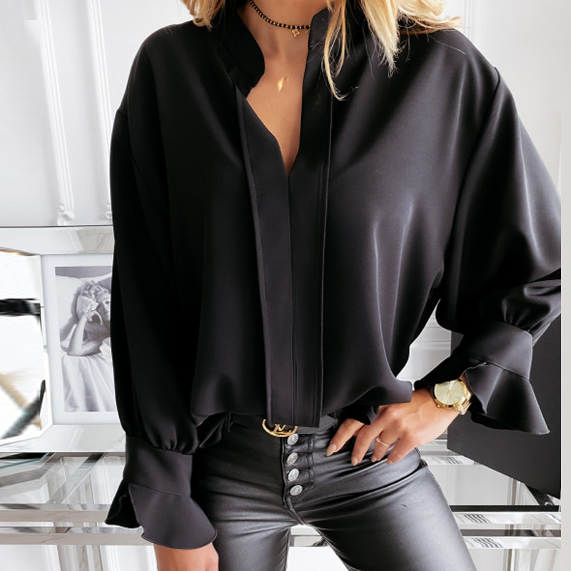 Diiwii Women Autumn Long Sleeve Tops Elegant Casual O Neck Solid Color Blusa Office Ladies Metal Button Basic Shirts Blouse 7