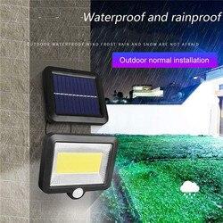 Cob 100 conduziu a luz solar ao ar livre lâmpadas de parede pir sensor de movimento dividir luz de parede solar holofotes segurança lâmpada de iluminação de emergência