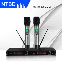 NTBD Sing Stage Performance Home KTV School Party High Quality True Diversity FD100 Professional Dual Wireless Microphone System