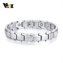 Vnox Stainless Steel Magnetic Bracelets for Men Women Therapy Healing Bangle Unisex Jewelry 3 Colors Options(China)