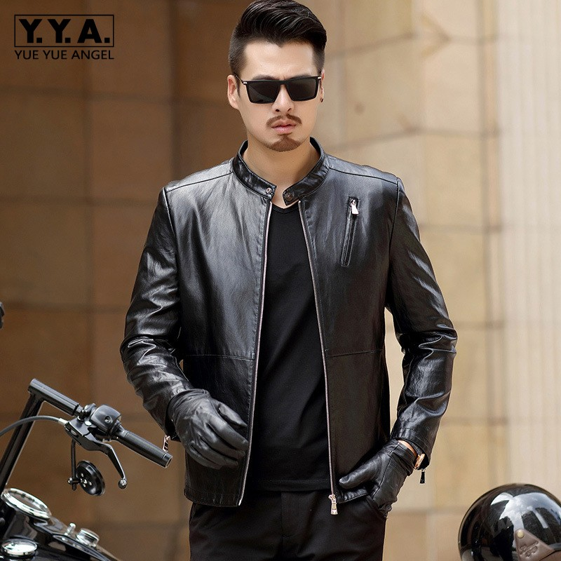 Brand Pu Leather Jacket Men Casual Slim Motorcycle Biker Short Coat England Style Stand Collar Zipper Black Outerwear Male M-3XL