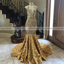Long Gold Prom Dresses 2020 Gorgeous Mermaid Halter Sequin Black Girls 3D Flowers Prom Dress(China)