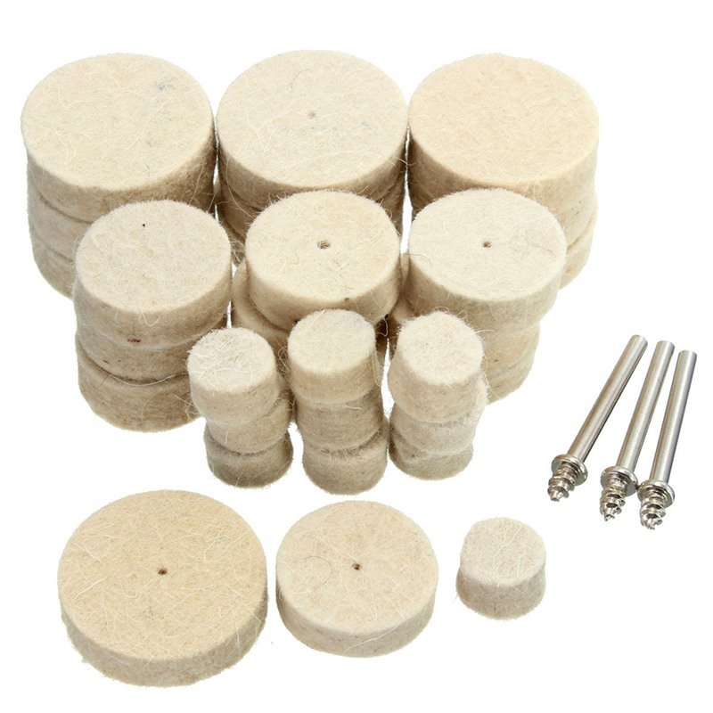 33Pcs Soft Felt Polishing Buffing Wheel Mixed Accessory For Rotary Tool