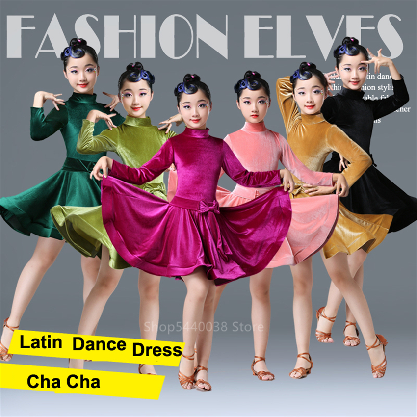 Latin Dance Dress For Girls Children Professional Competition Stage Salsa Kids Latin Dance Costumes Baby Velvet Vestido Ballroom