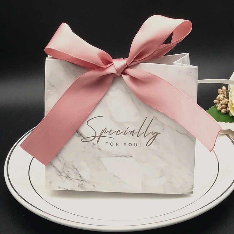 New year Marble style Gift Box Wedding Candy Box With  Ribbon Chocolate Packing Decoration For THANKS event & party supplies