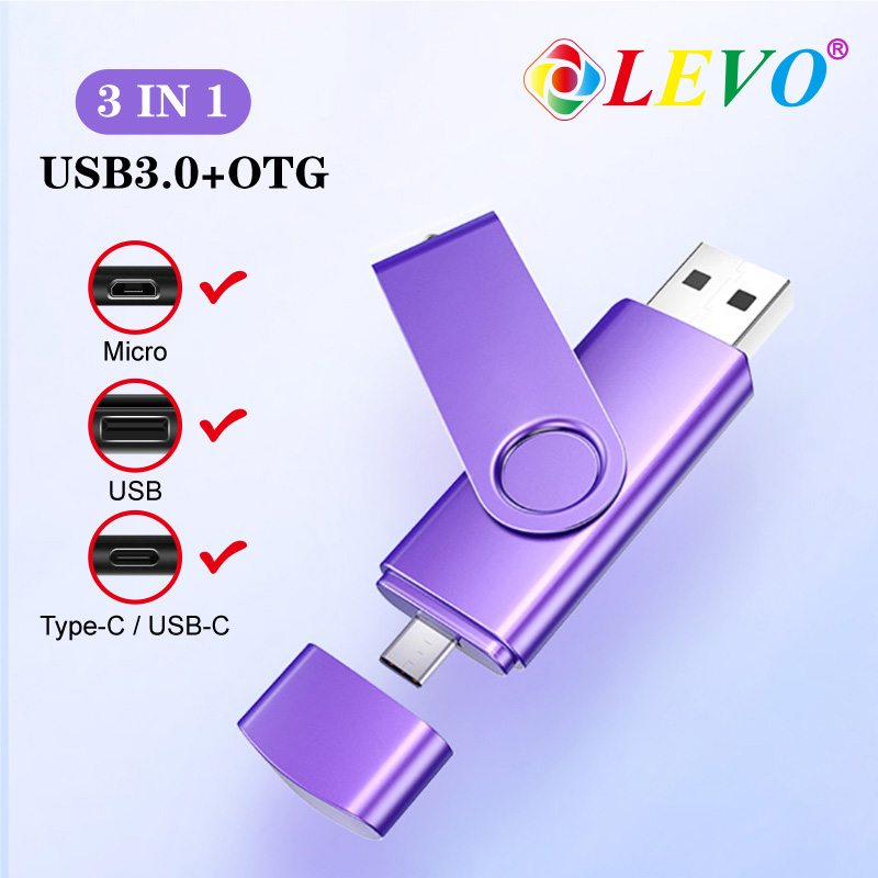 OTG 3 In 1 USB Flash Drives USB3.0 & Type-C & Micro USB 128GB 64GB 32GB 16GB 8GB 4GB Pendrives Dual Pen Drive Cle USB