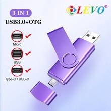 OTG 3 in 1 USB Flash Drives USB3.0 & Type-C & Micro USB 128GB 64GB 32GB 16GB 8GB 4GB Pendrives Dual Pen Drive Cle USB unique usb 2 0 micro usb otg flash drive black 8gb