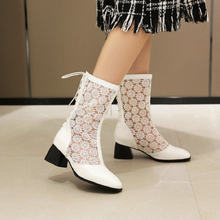 ZawsThia 2020 summer spring autumn lace mesh net hallow cut out womans boots chunky high heels white black ladies mid-calf boots(China)