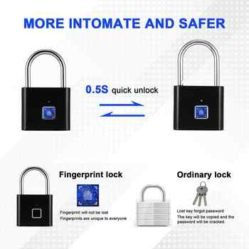 Black silver Keyless USB Rechargeable Door Lock Fingerprint Smart Padlock Quick Unlock Zinc alloy Metal Self Developing Chip