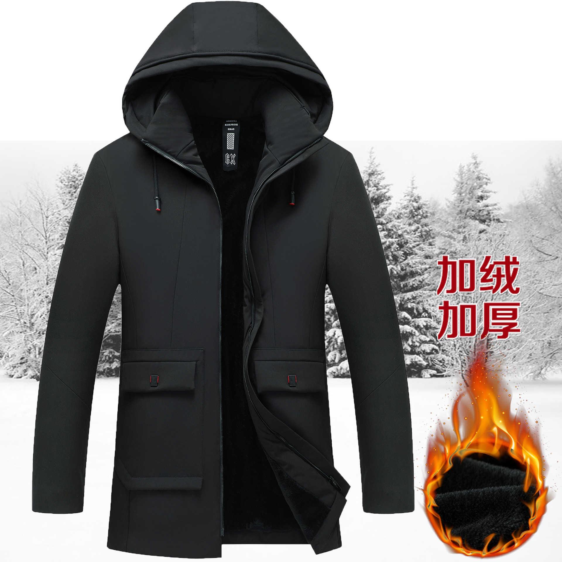 Pakaian Musim Dingin Pria Paruh Baya Mantel Kapas Ditambah Beludru Tebal Bawah Kapas Empuk Panjang Kasual Jaket Katun BY204