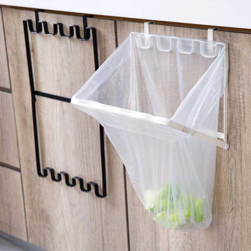 Kitchen Cupboard Back Trash Bag Rack Cabinet Door Garbage Bag Holder Plastic Hanging Kitchen Cabinet Foldable Trash Rack #8|Waste Bins| |  - title=