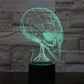 Lámpara de noche de acrílico Alien Head 3D Vision Illusion Unique con...