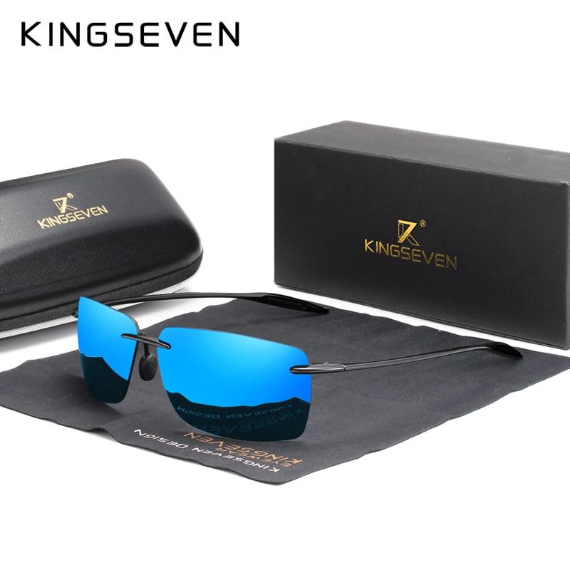 KINGSEVEN TR90 Rimless Sunglasses Men Ultralight High Quality Square Frameless Sun Glasses For Women Brand Designer Mirror Lens